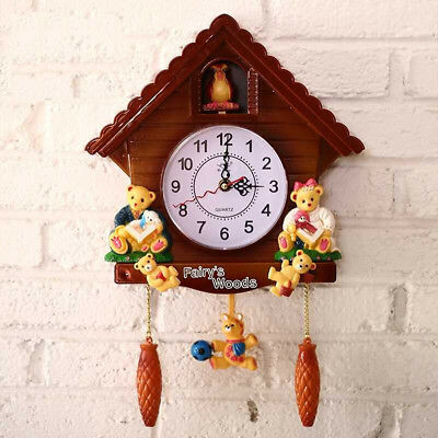 Retro Wooden Cuckoo Clock Bird Time Bell Swing Alarm Watch Wall Home Decor