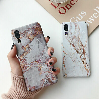 Beige Granite Marble Protective Cover Case For Huawei Mate 20 Pro P Smart 2019