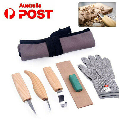 5Pcs Set Wood Carving Knife Chisel Woodworking Cutter Chip Hand Tool + Gloves AU