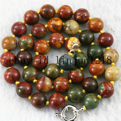 NATURAL 6/8/10/12MM PICASSO JASPER GEMSTONE ROUND LOOSE BEADS Necklace 18'' AAA