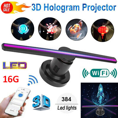 3D WiFi Holographic Hologram 384 LED Fan Projector Display Advertising Fan 16G