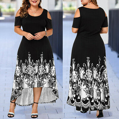 Plus Size Womens Floral Printed Cold Shoulder Dress Ladies Summer Party Prom UK