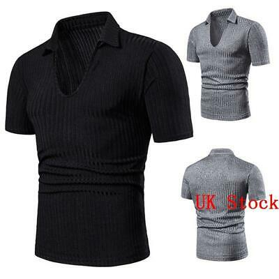Men Shirts Short Sleeve V Neck Basic Tee T -Shirt Slim Fit Casual Tops Blouses