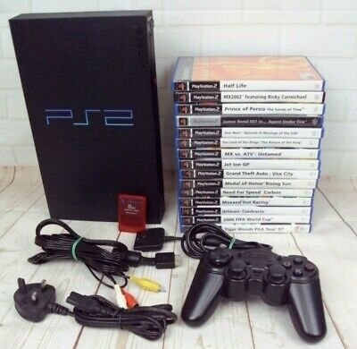 Sony PS2 & HUGE 15 Action Games Bundle Console Playstation 2 Tested & Working