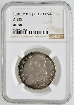 1828 Capped Bust Half Dollar - Small 8 Sq 2 Large Letters Ngc Au-50, O-120
