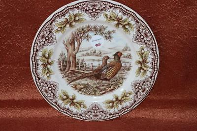THE VICTORIAN ENGLISH POTTERY PHEASANT WOODLAND DINNER PLATES(s) - S/4