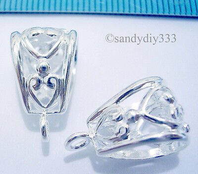 1x STERLING SILVER BRIGHT FLOWER SLIDE PENDANT CLASP CONNECTOR  13.7mm N028