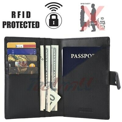 RFID Blocking 100% Genuine Leather 9 Slot Passport Holder Wallet Card Case Cover