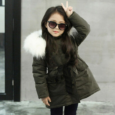 Girl Thick Warm Outwear Jacket Thick Coat Hooded Padded Long Coat F Kid Baby