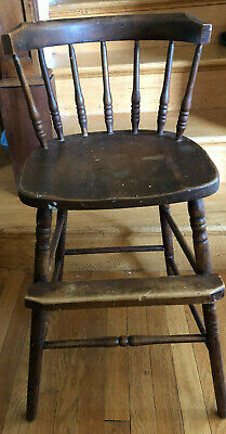Vintage 1940s Child'sHigh Chair for table seating. Wood