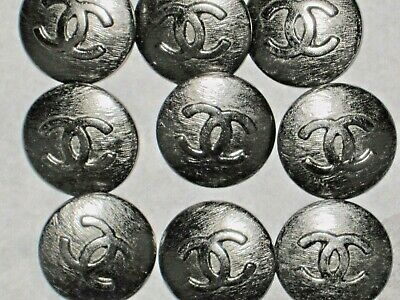 Chanel  10 Cc Logo Front Auth Dark Silver  Buttons  18  Mm / 3/4'' New Lot 10