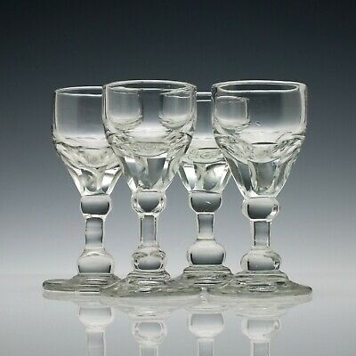 Set of Four English Antique 19th Century Port Wine Glasses c1880