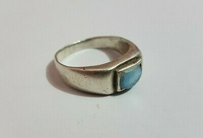 extremely ancient old ring silver legionary roman ring silver Blue stone rare