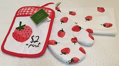 "Kate Spade /""Strawberries/"" 3 Piece Kitchen Set Oven Mitt,Towel Pot Holder Nwt"
