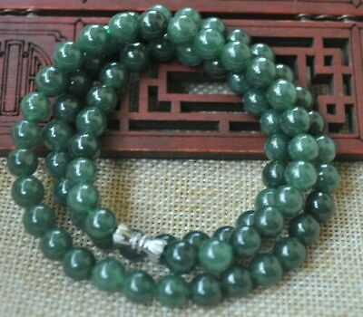 Certified Natural A grade Oil green Jadeite Jade 8mm round beads necklace 20''
