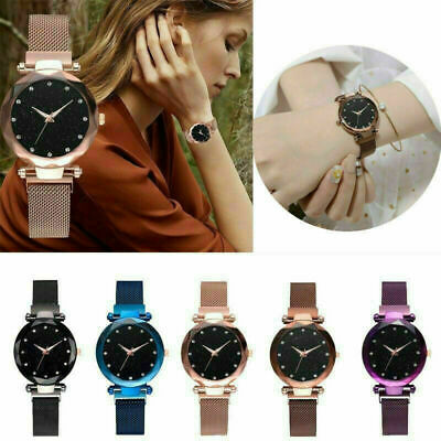 Ladies Women Watch Starry Sky Wrist Watch Bracelet Watches Magnetic Stainless
