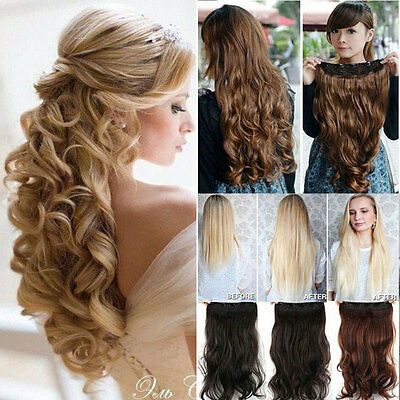 UK Real Long Clip in Hair Extensions One Piece Half Full Head Straight Curly kcb