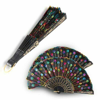 Peacock Feather Pattern Vintage Hand Hold Folding Fan Dancing Party Beautiful
