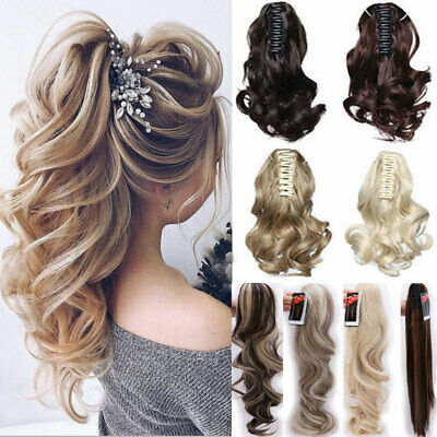 Real Thick Hair Claw Ponytail Hair Piece Clip In Pony Tail Fake Hair as human kc