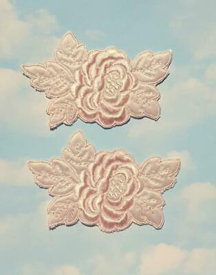 2 Pink Embroidered Satin Rose Applique - EB1