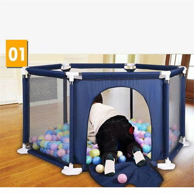 Baby Playpen With Millhouse 6 Sides Round Zipper Door Play Pen for Toddlers
