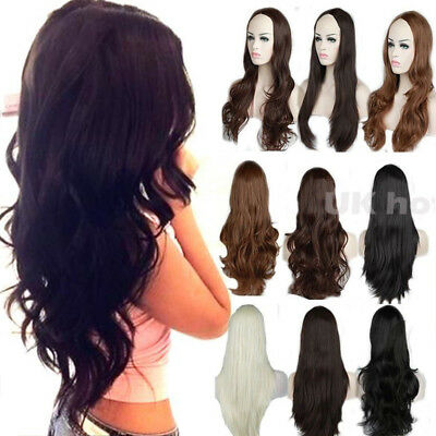 Real Thick Long Half Wig Heat Resistant Clip in 3/4 Wigs Synthetic Ombre Hair #L