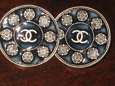 Chanel 2 Metal Cc Logo Camellia Flower Silver Navy Buttons 12 Mm /Around 1/2''