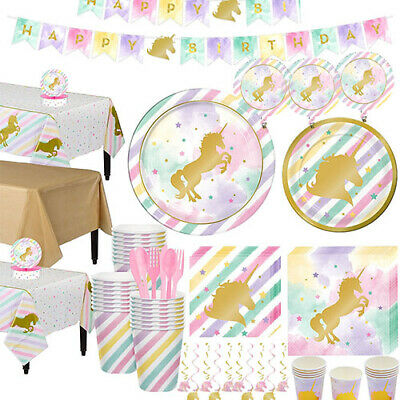 Unicorn Pastel Sparkle Party Supplies Tableware, Balloons, Banner,Balloons,Decor