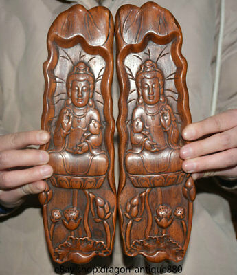 "10"" Rare Old Chinese Boxwood Carving Dynasty Guanyin Lotus Weight Pair"