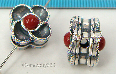 1x OXIDIZED STERLING SILVER RED CORAL STONE FLOWER SPACER BEAD 11.2mm #2284