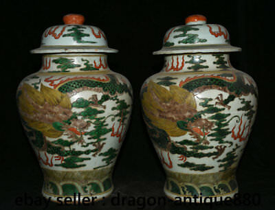 """13"""" Chinese Old Antique Wucai Porcelain Dynasty Dragon Phoenix General tank Pair"""