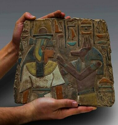 Rare EGYPTIAN ANTIQUES ANUBIS and Nephthys Stela Wall Relief Lemestone EGYPT BC