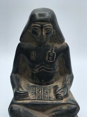 EGYPTIAN EGYPT ANTIQUES STATUE Seated Squatting Scribe Black CARVED Stone BC
