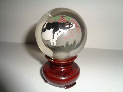 CHINESE Charming CRYSTAL REVERSE Painted BALL / PAPERWEIGHT with Wooden Base