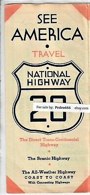 1941 National US 20 Highway Ass. Travel Map Brochure  Atlantic to Pacific Coast