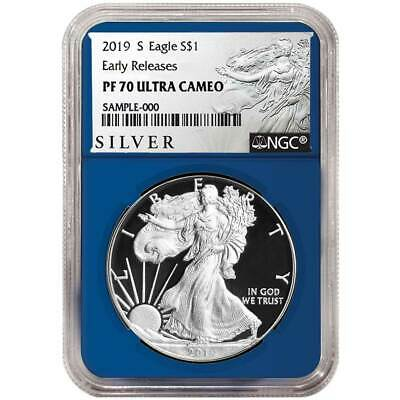 2019-S Proof $1 American Silver Eagle NGC PF70UC ALS ER Label Blue Core