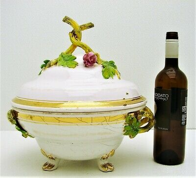 Early French Ceramic Tureen Serving Covered Dish with Figural Sculpted Tulips