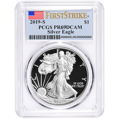 2019-S Proof $1 American Silver Eagle PCGS PR69DCAM First Strike Flag Label