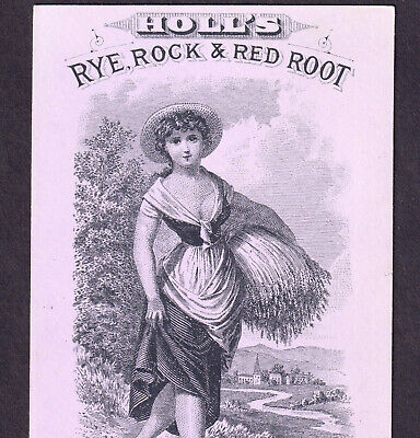 Holls Rye Rock & Red Root Cough Cold Cure Philadelphia Victorian Trade Card Farm