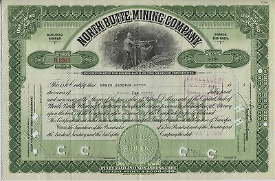North Butte Mining Company Capital Stock Certificate 10 Shares 1916