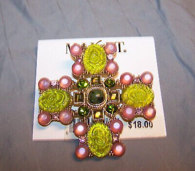 """Vintage Gold Tone Celtic Cross With Green/pink Settings Brooch Pin~2 1/4""""x2 1/4"""""""