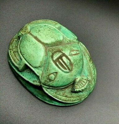 Rare EGYPT EGYPTIAN ANTIQUES SCARAB Beetle Stela Relief Carved Green STONE BC