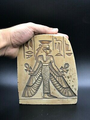 Rare EGYPT EGYPTIAN ANTIQUES ISIS Goddess Pharaoh STELA WALL RELIEF STONE BC #13