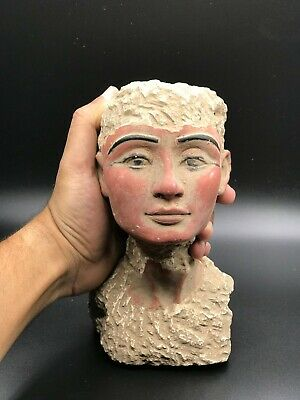 EGYPT EGYPTIAN ANTIQUES Queen PHARAO NEFERTITI HEAD STATUE Carved STONE BC