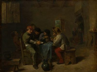 """oil painting handpainted on canvas """"Card playing peasants in a tavern """"@NO8243"""