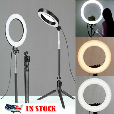 "8"" LED Selfie Ring Light Kit With Tripod Stand Dimmable Makeup Phone Camera USA"