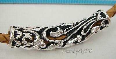 1x OXIDIZED STERLING SILVER FLOWER NECKLACE SLIDE PENDANT CORD TUBE 46.8mm #2041