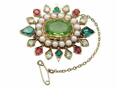 4.35 ct Peridot 2.56 ct Emerald & Sapphire Seed Pearl & 18 ct Yellow Gold Brooch