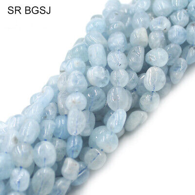 Natural 7-8mm Freeform Aquamarine Gemstone Jewelry Making Beads Strand 15""