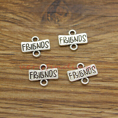 30 Friend Connector Charms Best  BFF Friendship Charm Antique Silver Tone 16x13